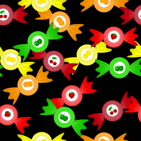 bonbons: dark seamless sweet pattern with fruit bonbons Stock Photo
