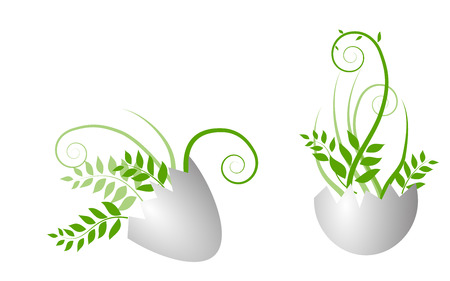 twigs: egg with growing grass and twigs Stock Photo