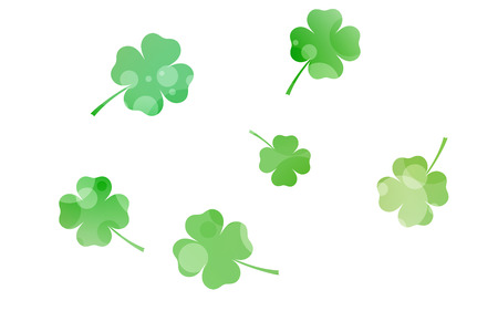 clovers: six green four leaf clovers Stock Photo