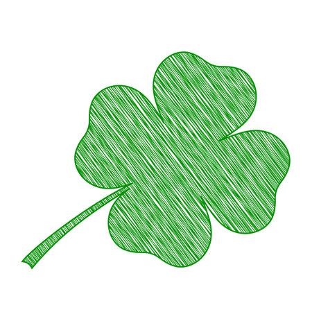 scrawl: diseñada icono de trébol, trébol verde garabatos