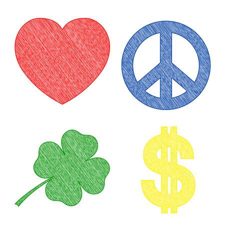 squiggles: set of symbols,  four designed squiggles symbols