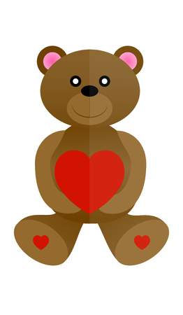 amorous: brown bear with heart in hands Illustration