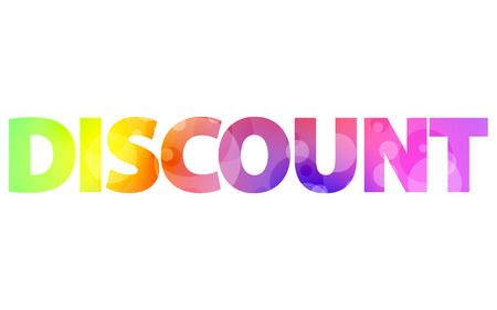 adverts: big colorful sign DISCOUNT, writing DISCOUNT Illustration