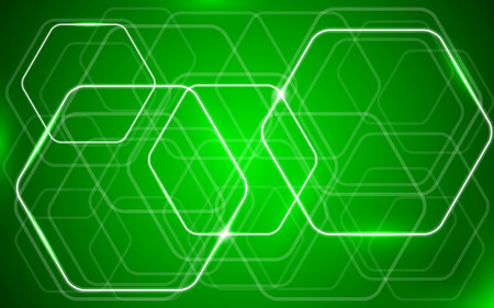 shiny background: light green shiny hexagon background Stock Photo