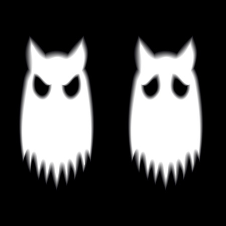 poltergeist: Two cat ghosts with different expression on black ground Stock Photo