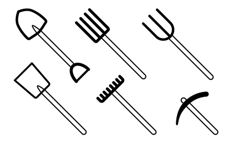 raking: garden tool icons, one color simple icons