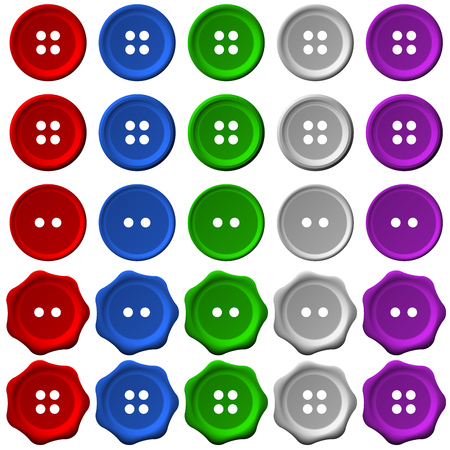 clothing buttons: set of five isolated clothing buttons