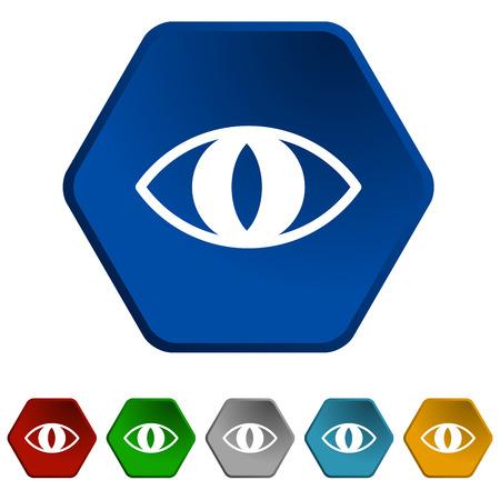 moggy: colored cat eyes icons set, blue eye icon