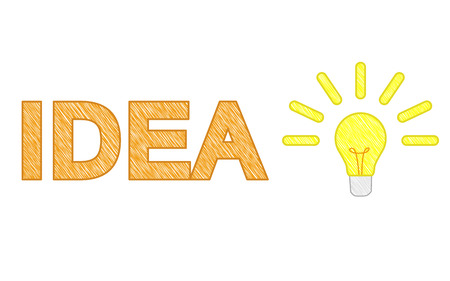 squiggle: lighting bulb with text idea, squiggle bulb
