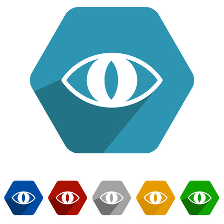 colored cat eyes icons set, cyan eye icon