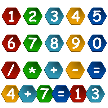 sums: set of numbers in colored hexagon frame