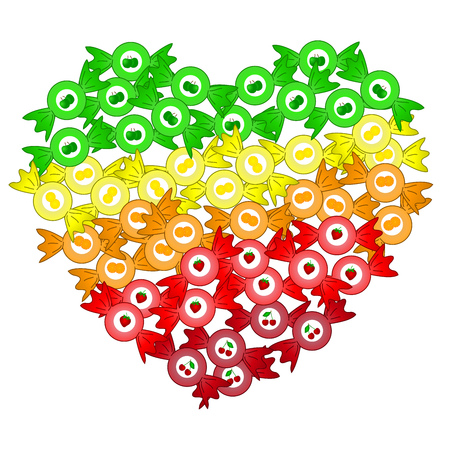 bonbons: colored isolated heart from fruit bonbons