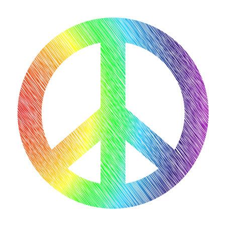 squiggles: rainbow stylized peace symbol isolated on white background