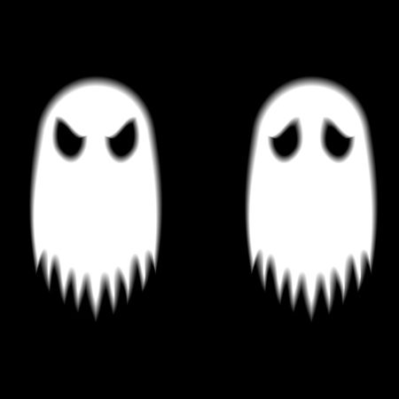 poltergeist: Two ghosts with different expression on black ground Stock Photo