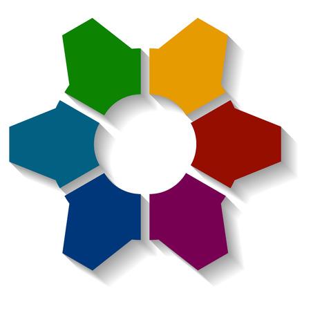 cogwheel: colored cogwheel infographics, isolated separated cogwheel with shade Illustration