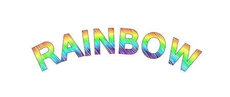 crooked: colorful text RAINBOW, crooked text RAINBOW
