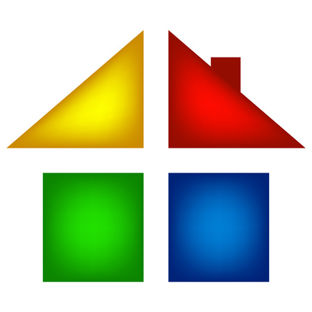 separated: colored house infographics, isolated separated colored house