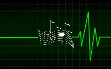 beating: green music heart beating, can not live without music