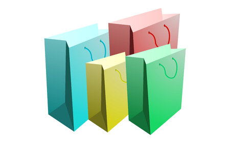 paper bags: set of shopping bags, isolated set of paper bags