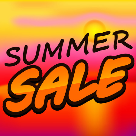 text summer sale on sunset background
