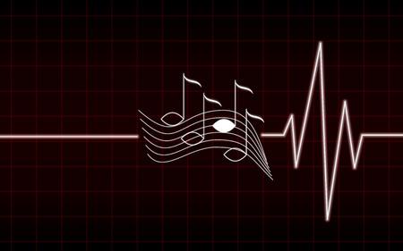 latidos del corazón rojo de la música, no puede vivir sin música Ilustración de vector