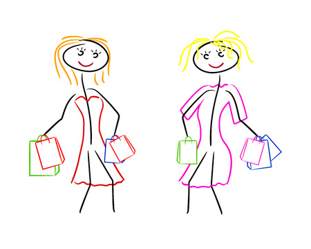 squiggles: two women go shopping in dresses Illustration