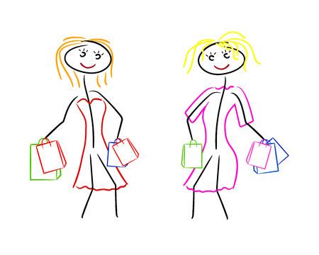 go shopping: two women go shopping in dresses Illustration