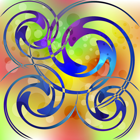 Psychedelic multicolored bubbles background, colorful spirals