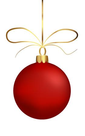 弓を持つ文字列のマットのクリスマス ボール、赤い球を分離