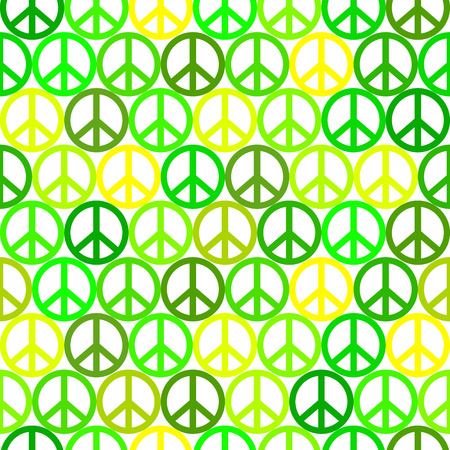 green peace pattern on white background, hippies sign Illustration