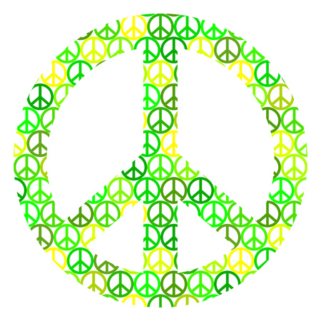 Isolated peace on white hippies sign. Illustration