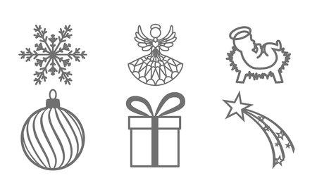 isolated Christmas symbols, Christmas ornaments on white background Illustration