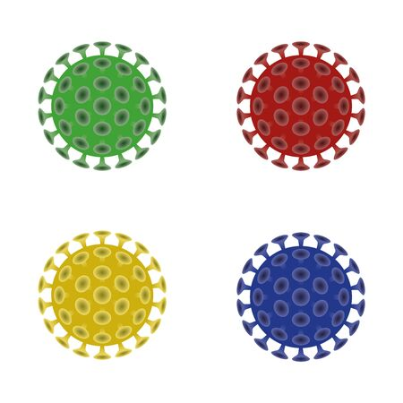 viruses in four color versions isolated