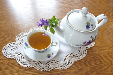 tea service: vintage tea service with pattern of violets