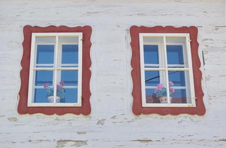 liptov: painted windows of traditional wooden house Liptov Slovakia