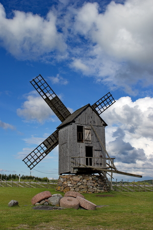 estonian: estonian old wooden wind mill on island Saaremaa, Estonia