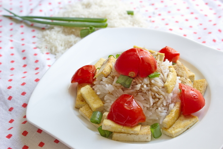 stippled: rice with vegetable and pieces of tofu served on stippled tablecloth Stock Photo