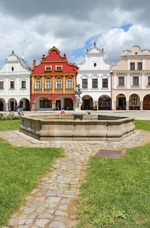 urban centers: plaza with well-conserved Renaissance and Baroque houses, Telc, Moravia, Czech Republic