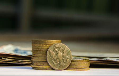 bucket of money: Ancient Russian money, old coins, treasure