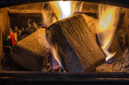 briquettes: briquettes burn in the fireplace