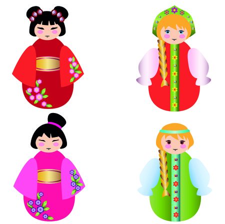 mu�ecas rusas: Russian dolls and the Chinese doll together on white Vectores