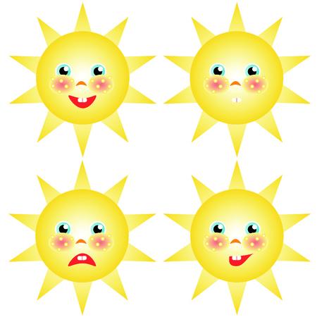 smilies: sun smilies set of drawings Illustration