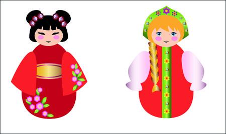mu�ecas rusas: mu�ecas rusas y la mu�eca china juntos en blanco Vectores