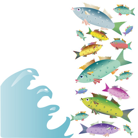small group of objects: COLOR BEAUTIFUL SMALL FISHES ON THE WHITE BACKGROUND Illustration