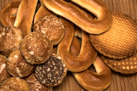 Honey-cake, bagels and cookies, close up background