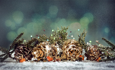 Christmas composition of twigs and cones