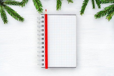 Christmas composition. Notepad on white background Stok Fotoğraf