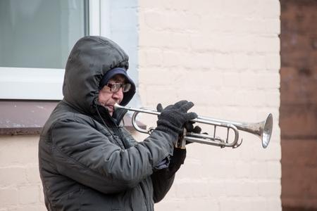 Russia, Gatchina, November, 2018. Street musician