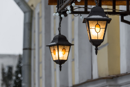 Streetlights shine, a winter urban view in the morning Stok Fotoğraf