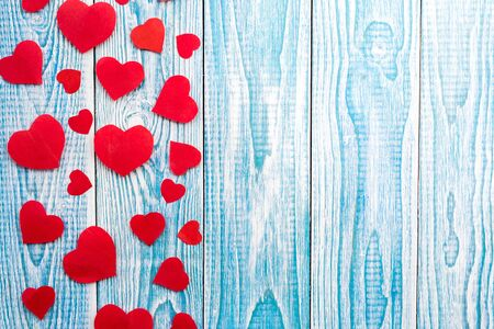 Beautiful decorative hearts on wooden background. Valentines day. mothers day. I love you!